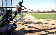 GLENDALE, ARIZONA - FEBRUARY 20:  Eloy Jimenez #74 of the Chicago White Sox bats during spring training workouts on February 20, 2019 at Camelback Ranch in Glendale Arizona.  (Photo by Ron Vesely). Subject:   Eloy Jimenez
