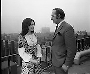"""Dana at Jurys Hotel..1971..31.03.1971..03.31.1971..31st March 1971..When """"All Kinds Of Everything"""" sung by Dana (Rosemary Scallon) won the 1970 Eurovision Song Contest it meant that Ireland would be the next host for the competition. Dana was catapulted into instant celebrity and was now using this celebrity to promote this years' contest which is to be held in The Gaiety Theatre,Dublin..Picture of Dana in discussion with Mr Colm Rice,Managing Director,Jury's Hotel,about the forthcoming Eurovision Song Contest at The Gaiety."""