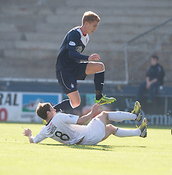 Falkirk's Jay Fulton over Raith Rovers Kevin Moon.<br /> Half time : Raith Rovers 1 v 0 Falkirk, Scottish Championship 28/9/2013.<br /> ©Michael Schofield.