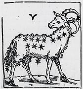 Zodiac sign of Aries. From 'Sphaera mundi', Strasburg, 1539