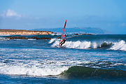 Windsurfing at San Simeon, California USA