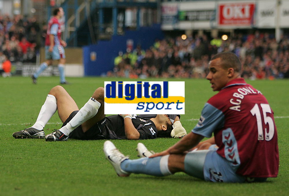 Photo: Lee Earle.<br /> Portsmouth v Aston Villa. The Barclays Premiership. 02/12/2006. Portsmouth keeper David James (L) looks gutted after bring down Gabriel Agbonlahor (R) for a penalty.