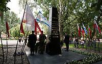 16.08.2013 Bialystok Uroczystosci w 70. rocznice wybuchu powstania w bialostockim getcie. W powstaniu - trwajacym do 20 sierpnia 1943 roku - wzielo udzial 300 powstancow, prawie wszyscy z nich zgineli N/z Pomnik Bohaterow Getta fot Michal Kosc / AGENCJA WSCHOD