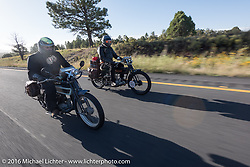 Vern Acres (R) of Ontario, Canada riding his 4-cylinder 1914 Henderson class-2 motorcycle beside Jeff Tiernan of New York on his Mark Hill restored 4-cylinder 1913 Henderson class-2 bike during the Motorcycle Cannonball Race of the Century. Stage-13 ride from Williams, AZ to Lake Havasu CIty, AZ. USA. Friday September 23, 2016. Photography ©2016 Michael Lichter.