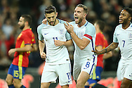 GOAL - Adam Lallana of England (l) celebrates after scoring his sides 1st goal from a penalty with teammate Jordan Henderson, the England captain (8) .England v Spain, Football international friendly at Wembley Stadium in London on Tuesday 15th November 2016.<br /> pic by John Patrick Fletcher, Andrew Orchard sports photography.
