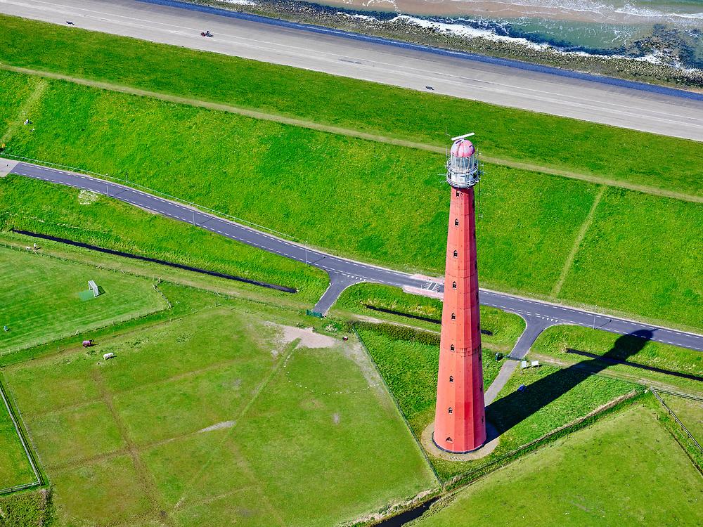 Nederland, Noord-Holland, gemeente Den Helder, 07-05-2021; Huisduinen met Vuurtoren Kijkduin (Lange Jaap) met daarachter Fort Erfprins (Marinekazerne) en Oud Den Helder met veerhaven. Aan de horizon Texel.<br /> Huisduinen with lighthouse Kijkduin (Lange Jaap) and behind it Fort Erfprins (Navy barracks) and Oud Den Helder with ferry port. On the horizon Texel.<br /> luchtfoto (toeslag op standard tarieven);<br /> aerial photo (additional fee required)<br /> copyright © 2021 foto/photo Siebe Swart