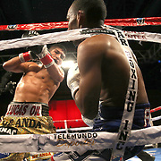 Jonathan Gonzalez falls back into the ropes as he fights against Richard Rodriguez during a Telemundo boxing match between at Osceola Heritage Park on Friday, February 23, 2018 in Kissimmee, Florida.  (Alex Menendez via AP)