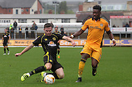 Newport County's Jennison Myrie-Williams ® challenges Crewe's Oliver Turton. Skybet EFL league two match, Newport county v Crewe Alexandra at Rodney Parade in Newport, South Wales on Saturday 20th August 2016.<br /> pic by David Richards, Andrew Orchard sports photography.