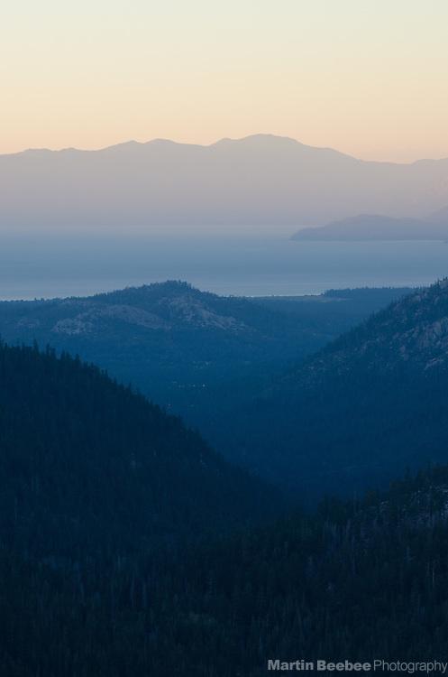 Lake Tahoe at dusk, Sierra Nevada, Eldorado National Forest, California
