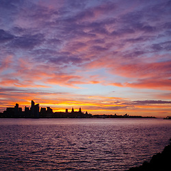 The sun rises over the city of Liverpool