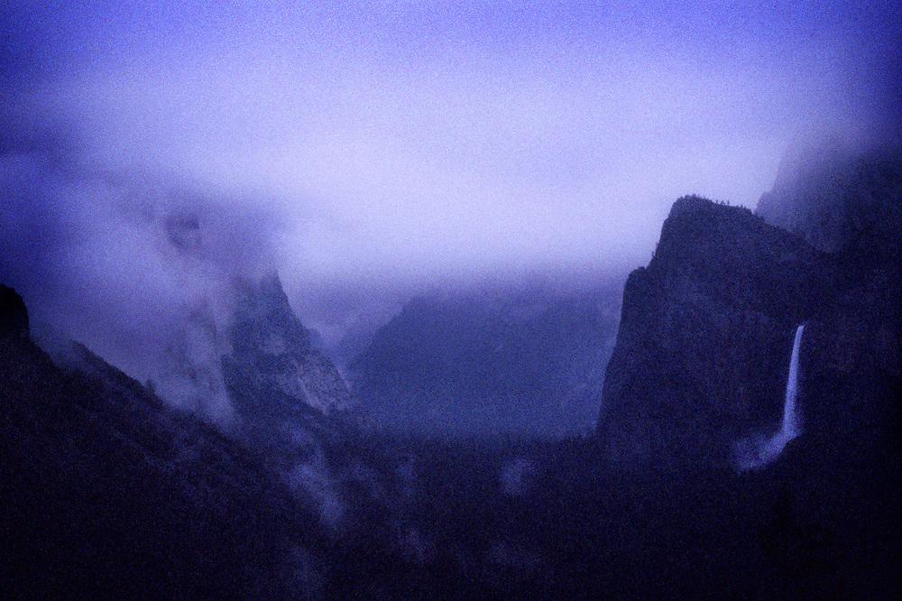 Storm and fog, Yosemite Valley and Bridal Veil Falls, Yosemite National Park
