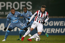 (L-R), Lerin Duarte of Heracles Almelo, Jamiro Monteiro Alvarenga of Heracles Almelo, Fran Sol of Willem II during the Dutch Eredivisie match between Willem II Tilburg and Heracles Almelo at Koning Willem II stadium on December 02, 2017 in Tilburg, The Netherlands