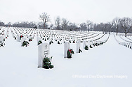 65095-03001 Wreaths on graves in winter Jefferson Barracks National Cemetery St. Louis,  MO