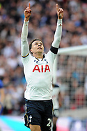 Tottenham's Deli Alli celebrates after scoring his teams 2nd goal to make it 2-2. The Emirates FA Cup semi-final match, Chelsea v Tottenham Hotspur at Wembley Stadium in London on Saturday 22nd April 2017.<br /> pic by Carl Robertson,  Andrew Orchard sports photography.