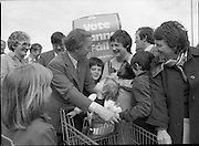 Taoiseach's Election Campaign.      (N77)..1981..23.05.1981..05.23.1981..23rd May 1981..On the 21st May the Taoiseach, Mr Charles Haughey, dissolved the Dáil and called a general election. Charles Haughey, Garret Fitzgerald and Frank Cluskey were leading their respective parties into a general election for the first time as they had only taken party leadership during the last Dáil..Fianna Fáil had hoped to call the election earlier, but the Stardust Tragedy caused the decision to be deferred...Charles Haughey is pictured canvassing a future voter on his walkabout in Malahide.