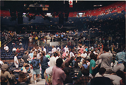 Interior of  The Capital Centre showing the Gathering Audience, Tapers Section, Sound and Lighting Booths and the Stage. Before The Grateful Dead Perform Live. Landover MD on 16th of March 1990