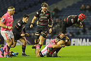 Grant Gilchrist is tackled by Heinke Van der Merwe during the European Rugby Challenge Cup match between Edinburgh Rugby and Stade Francais at Murrayfield Stadium, Edinburgh, Scotland on 12 January 2018. Photo by Kevin Murray.