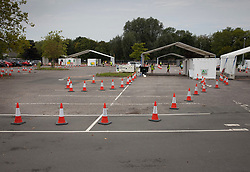 © Licensed to London News Pictures. 16/09/2020. Chessington, UK. A Coronavirus testing centre set up in a car park at Chessington World of Adventures, south west of London, remains mostly quiet with only a trickle of people arriving for tests. The Government have faced criticism after people face delays in getting tested for the virus. Photo credit: Peter Macdiarmid/LNP
