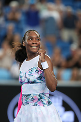 MELBOURNE, Jan. 17, 2019  Venus Williams of the United States celebrates after the women's singles second round match against Alize Cornet of France at the Australian Open in Melbourne, Australia, Jan. 17, 2019. (Credit Image: © Bai Xuefei/Xinhua via ZUMA Wire)