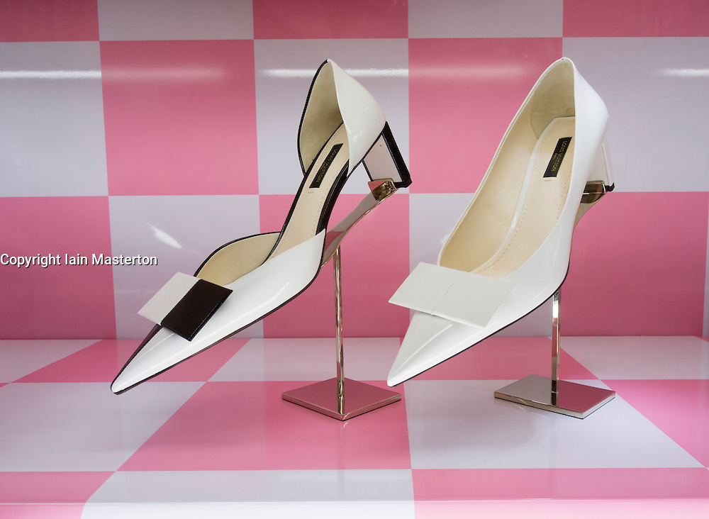 Window display of shoes at Louis Vuitton at The Dubai Mall in Dubai United Arab Emirates