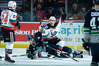 KELOWNA, BC - MARCH 6: Kyle Topping #24 and Trevor Wong #8 celebrate a second period goal by Devin Steffler #4 of the Kelowna Rockets against the Seattle Thunderbirds at Prospera Place on March 6, 2020 in Kelowna, Canada. (Photo by Marissa Baecker/Shoot the Breeze)