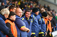 Burton Albion manager Nigel Clough and his staff during the EFL Sky Bet League 1 match between Burton Albion and Peterborough United at the Pirelli Stadium, Burton upon Trent, England on 27 October 2018.