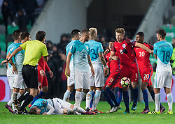 Aljaz Struna of Slovenia in fight with Jesse Lingard of England, Eric Dier of England and Marcus Rashford of England during football match between National teams of Slovenia and England in Round #3 of FIFA World Cup Russia 2018 Qualifier Group F, on October 11, 2016 in SRC Stozice, Ljubljana, Slovenia. Photo by Vid Ponikvar / Sportida