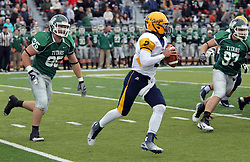 18 October 2014: Brady Hails till Sam Frasco during an NCAA division 3 football game between the Augustana Vikings and the Illinois Wesleyan Titans in Tucci Stadium on Wilder Field, Bloomington IL