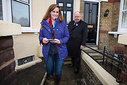 © Licensed to London News Pictures . 19/11/2014 . Kent , UK . Conservative candidate Kelly Tolhurst canvassing on Gordon Terrace in Rochester with Secretary of State for Communities and Local Government , Eric Pickles . The Rochester and Strood by-election campaign following the defection of sitting MP Mark Reckless from Conservative to UKIP . Photo credit : Joel Goodman/LNP