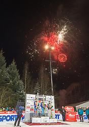 06.01.2015, Paul Ausserleitner Schanze, Bischofshofen, AUT, FIS Ski Sprung Weltcup, 63. Vierschanzentournee, Siegerehrung Gesamtwertung, im Bild Michael Hayboeck (AUT, 2. Platz), Stefan Kraft (AUT, 1. Platz) und Peter Prevc (SLO, 3. Platz) // 2nd placed Michael Hayboeck of Austria, Winner Stefan Kraft of Austria and 3rd placed Peter Prevc of Slovenia during Overall Award ceremony of 63 rd Four Hills Tournament of FIS Ski Jumping World Cup at the Paul Ausserleitner Schanze, Bischofshofen, Austria on 2015/01/06. EXPA Pictures © 2015, PhotoCredit: EXPA/ JFK