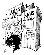 Arms for South Africa (Prime Minister Ted Heath as a docker nails notices on boxes of weapons with 'Caution - The contents of this box may be injurous to health')