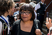 Following the attack on a group of Muslim men outside the Finsbury Park mosque which killed one person and seriously injured another ten, Labour MP and Shadow Home Secretary Diane Abbott leaves the Islamic building after meeting leaders, on 19th June 2017, in the borough of Islington, north London, England.
