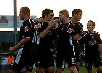 Photo: Jed Wee.<br />Doncaster Rovers v Swansea City. Coca Cola League 1.<br />17/12/2005.<br />Swansea celebrate with scorer Sam Ricketts (C).
