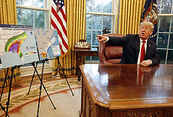 October 10, 2018 - Washington, District of Columbia, U.S. - United States President Donald J. Trump meets with Federal Emergency Management Agency (FEMA) Director William Brock Long and US Secretary of Homeland Security (DHS) Kirstjen Nielsen on Hurricane Michael in the Oval Office of the White House, Washington, DC, October 10, 2018  (Credit Image: © Martin H. Simon/CNP via ZUMA Wire)