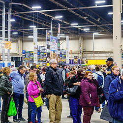 Harrisburg, PA / USA - January 9, 2020: Large crowds gather at the PA Farm Show in the food court where many different items are offered for sale by vendors.