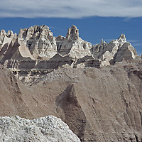 Heavily eroded spires and gullies characterize Badlands National Park.