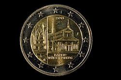 09.09.2013, Stuttgart, GER, Euro Muenze, Sonderpraegung 2013, im Bild Sonderpraegung 2013 Kloster Maulbronn Baden-Wuerttemberg, Muenzpraegestaette Stuttgart F, Rueckseite - 2 Euro Muenze - Muenzgeld // Euro coin, special edition 2013, Stuttgart, Germany on 2013/09/09. EXPA Pictures © 2013, PhotoCredit: EXPA/ Eibner/ Michael Weber<br /> <br /> ***** ATTENTION - OUT OF GER *****