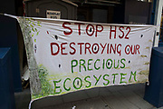 A Stop HS2 banner is pictured in St Martins Lane during the first day of Impossible Rebellion protests by environmental activists from Extinction Rebellion on 23rd August 2021 in London, United Kingdom. Extinction Rebellion are calling on the UK government to cease all new fossil fuel investment with immediate effect.