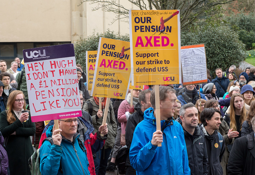 © Licensed to London News Pictures. 12/03/2018. Bristol, UK. University and College Union (UCU) nation wide strike. UCU lecturers begin a fourth week of strikes at the University of Bristol, holding a picket and rally outside the university administrative centre Senate House. Professor Hugh Brady, Vice-Chancellor of the University of Bristol spoke at the rally. Lecturers and other university staff are holding an escalating wave of strikes over a four-week period at 61 universities across the country over a change in their pensions. The dispute centres on proposals to end the defined benefit element of the Universities Superannuation Scheme (USS) pension scheme. UCU says this would leave a typical lecturer almost £10,000 a year worse off in retirement than under the current set-up. Photo credit: Simon Chapman/LNP