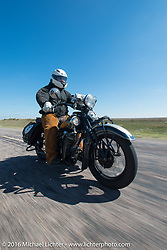 Steven Rinker riding his 1936 Indian Chief during Stage 8 of the Motorcycle Cannonball Cross-Country Endurance Run, which on this day ran from Junction City, KS to Burlington, CO., USA. Saturday, September 13, 2014.  Photography ©2014 Michael Lichter.