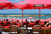 Israel, Tel Aviv Holidaymakers on the beach