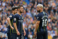 BRIGHTON, ENGLAND - MAY 12:  Bernardo Silva (20) of Manchester City and Sergio Aguero (10) of Manchester City during the Premier League match between Brighton & Hove Albion and Manchester City at American Express Community Stadium on May 12, 2019 in Brighton, United Kingdom. (MB Media)