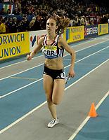 Photo: Richard Lane.<br />Norwich Union International, Glasgow. 27/01/2007. <br />Great Britain's Lisa Dobriskey wins the womens 1500m.