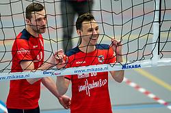 Finn Frielink of Taurus, Tom van den Boogaard of Taurus in action during the quarter cupfinal between Taurus vs. Sliedrecht Sport on April 02, 2021 in sports hall De Kruisboog, Houten