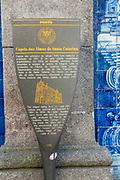 Porto, Portugal. Santa Catarina Chapel, aka Almas Chapel decorated with Azulejos, the typical Portuguese Blue Tiles