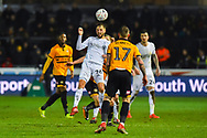 Lewis Wing (26) of Middlesbrough heads the ball during the The FA Cup match between Newport County and Middlesbrough at Rodney Parade, Newport, Wales on 5 February 2019.