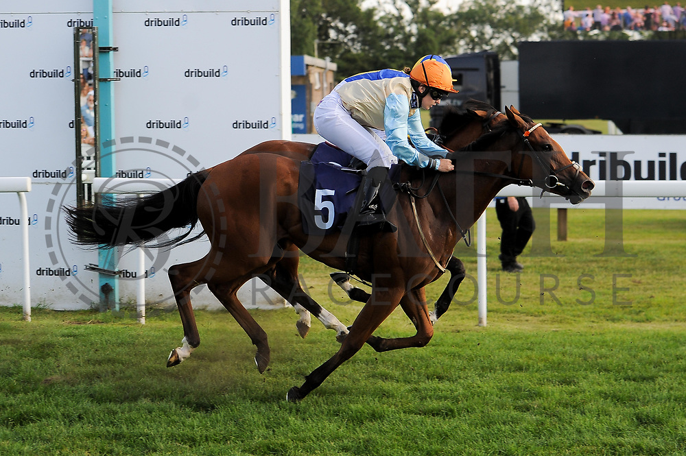 Simply Susan ridden by Georgia Dobie and trained by Eve Johnson Houghton in the Sds Maiden Auction Stakes race.  - Ryan Hiscott/JMP - 02/08/2019 - PR - Bath Racecourse - Bath, England - Race Meeting at Bath Racecourse