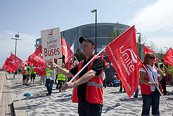 © Licensed to London News Pictures. 28/06/2012. LONDON, UK. Bus drivers and Union members protest over bonuses for working during the London 2012 Olympics outside the Greenwich Peninsula Terminal of the Emirates Air Line cable car system in East London today (28/06/12).  London 2012 Olympics. Photo credit: Matt Cetti-Roberts/LNP