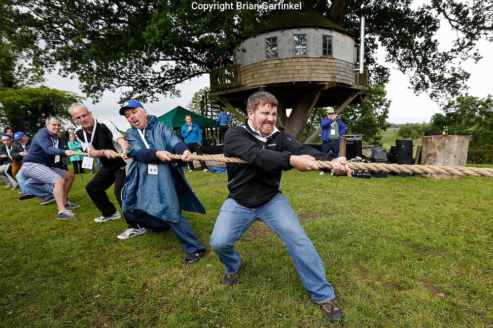 Joe, Michael, and Seamus Caulfield during the Tug of War at the Caulfield/Mulryan family reunion at Ardenode Stud, County Kildare, Ireland on Sunday, June 23rd 2013. (Photo by Brian Garfinkel)