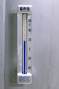 thermometer on fermentation vat domaine fussiacus macon burgundy france